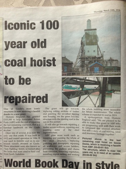 Iconic boat hoist to be restored - Goole Times article