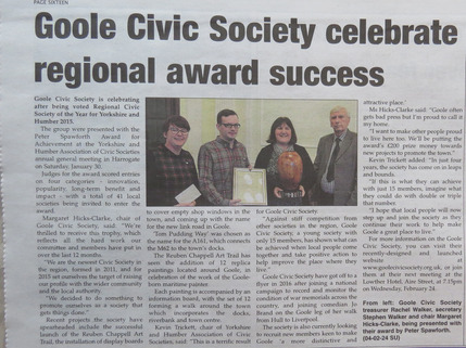 Goole Civic Society wins regional award for Yorkshire and Humber
