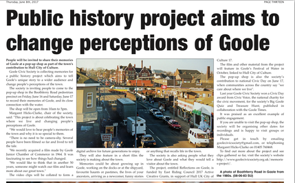 Coverage in Goole Times of video history project