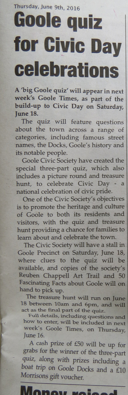 Goole Times preview of Big Goole Quiz for Civic Day 2016
