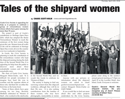 Extraordinary women who worked at Goole shipyard in WW2