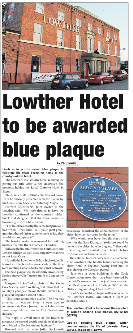 Lowther Hotel,Goole, East Riding of Yorkshire, to get Civic Society Blue Plaque as England's oldest hotel