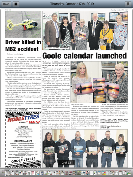 Goole Times article 17 10 19
