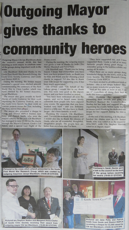 Goole Times article on Mayor's awards to Goole Community Heroes