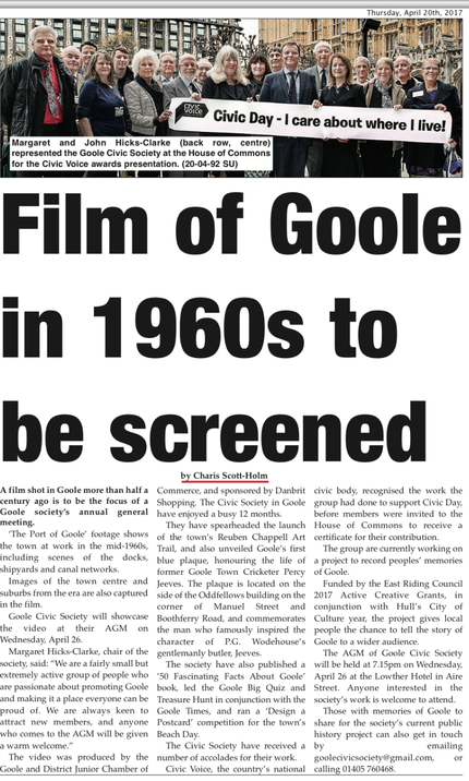 Goole Times coverage of screening of historic film as Civic Society annual general meeting