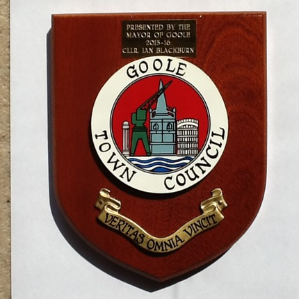 Mayor of Goole's plaque awarded to Goole Civic Society to thank them for their efforts for the town's