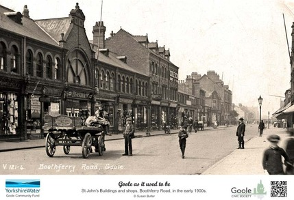 Picture board showing Boothferry Road, Goole, in the early 1900s